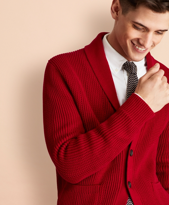 Shawl-Collar Button-Front Cardigan Red