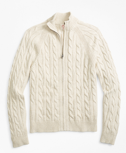 Cable-Knit Zip Sweater