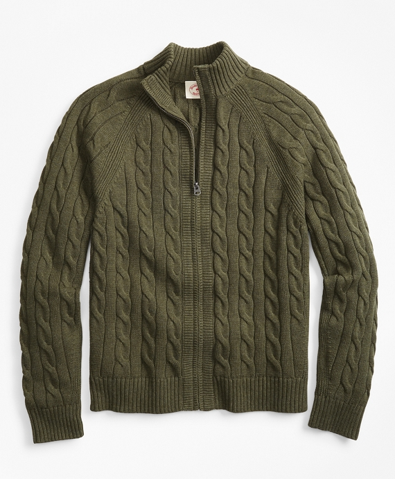 Cable-Knit Zip Sweater Ivy Green