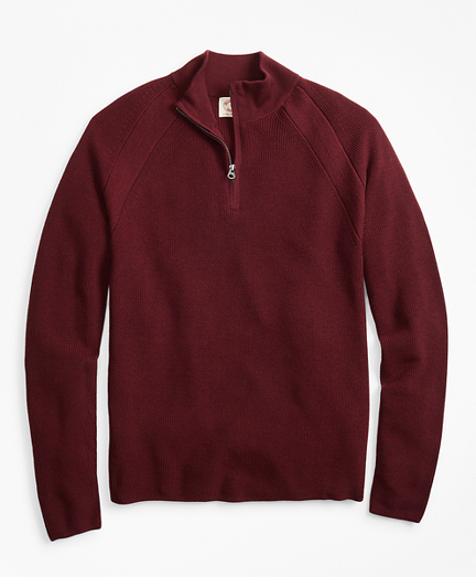 Half-Zip Merino Wool Ribbed Sweater