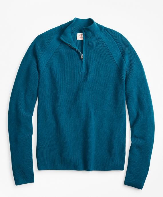 Half-Zip Merino Wool Ribbed Sweater Teal