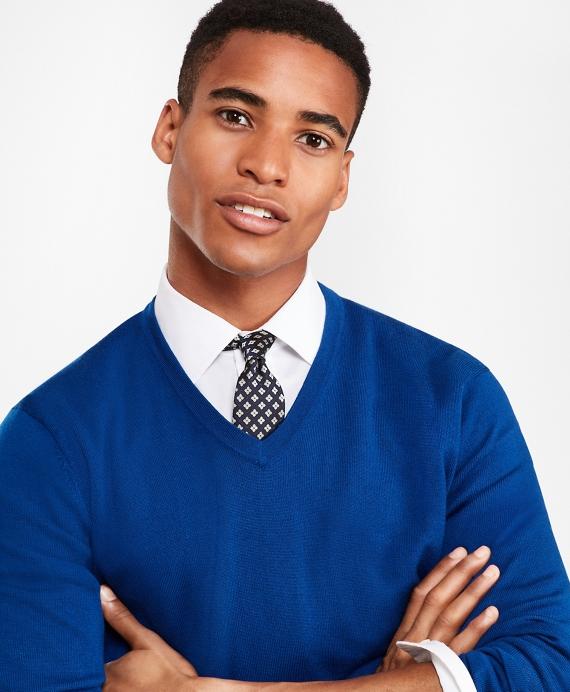 Merino Wool V-Neck Sweater Blue