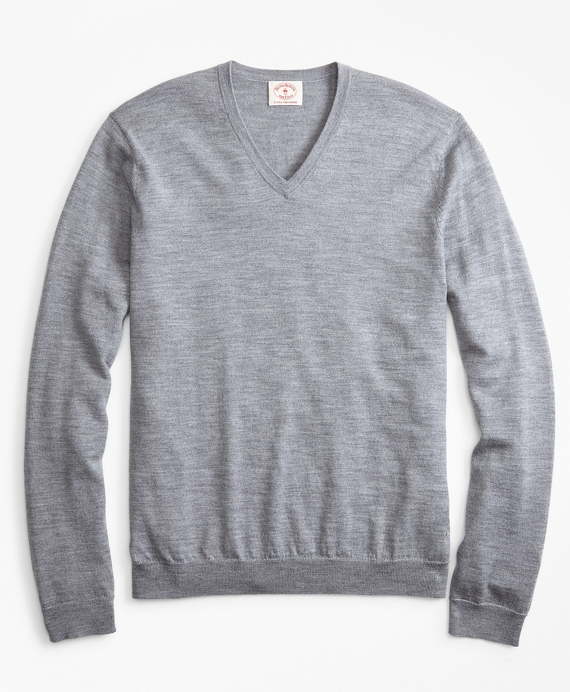Merino Wool V-Neck Sweater Grey