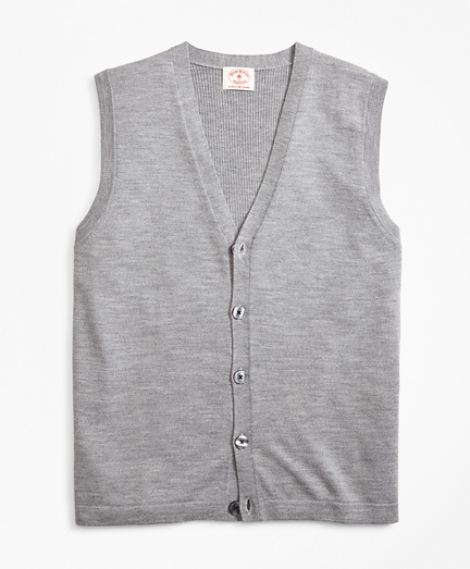 Merino Wool V-Neck Button Vest