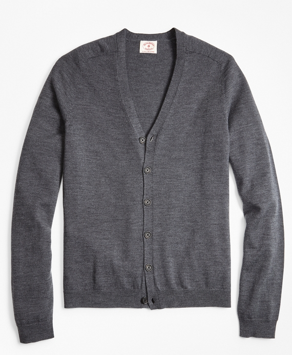 Merino Wool V-Neck Cardigan Charcoal