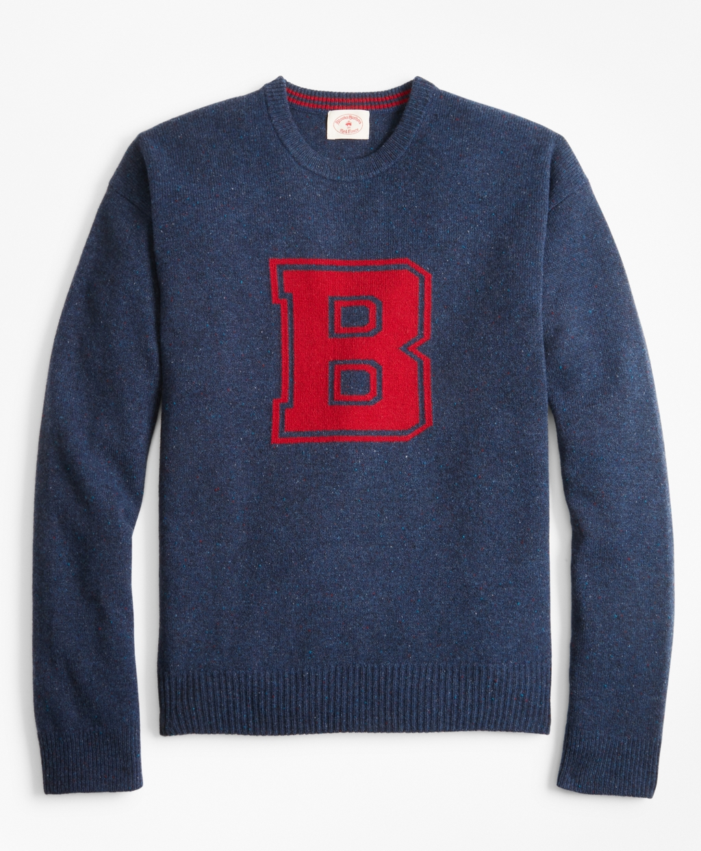 Retro Clothing for Men | Vintage Men's Fashion Brooks Brothers Mens Donegal Wool Crewneck Letter Sweater $44.75 AT vintagedancer.com