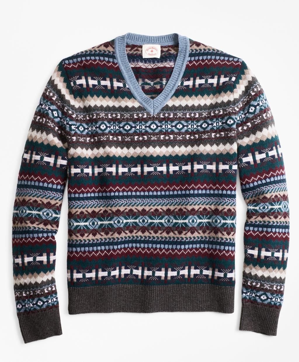 50904afaae102f 1920s Mens Sweaters, Pullovers, Cardigans Brooks Brothers Mens Fair Isle  Wool-Blend V