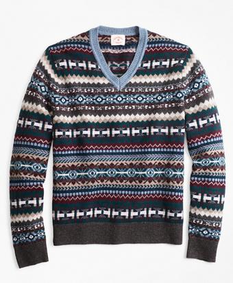 Fair Isle Wool-Blend V-Neck Sweater