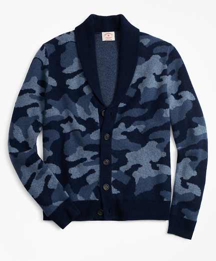 Camo Shawl Collar Cardigan