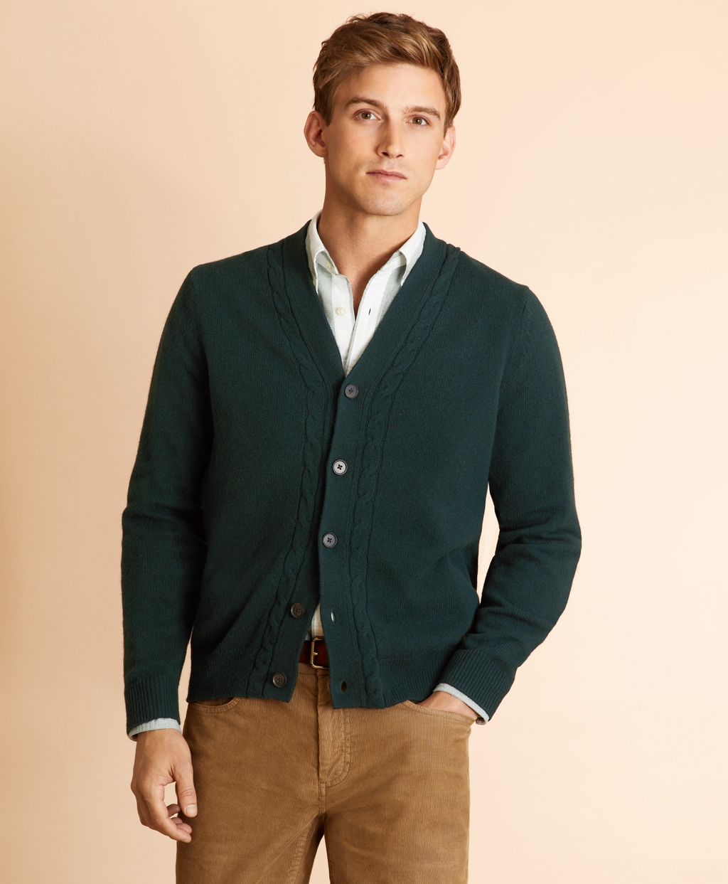 Men's Vintage Sweaters, Retro Jumpers 1920s to 1980s Brooks Brothers Mens Alpaca-Blend Cable V-Neck Cardigan $69.00 AT vintagedancer.com