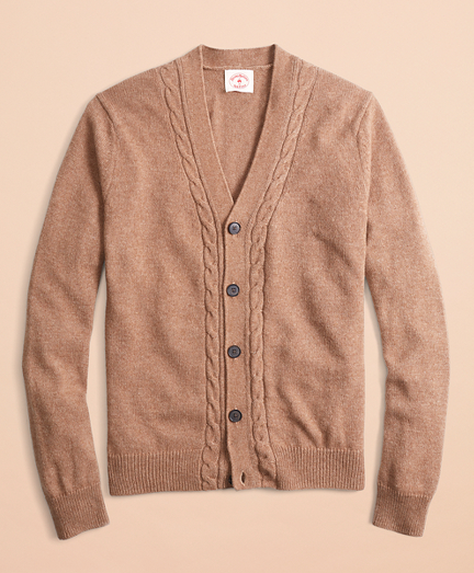 Alpaca-Blend Cable V-Neck Cardigan
