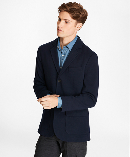 Merino Wool Three-Button Sweater Blazer