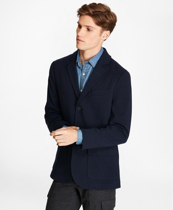 Merino Wool Three-Button Sweater Blazer Navy