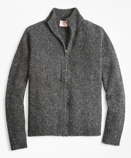 Donegal Wool-Blend Zip-Up Sweater