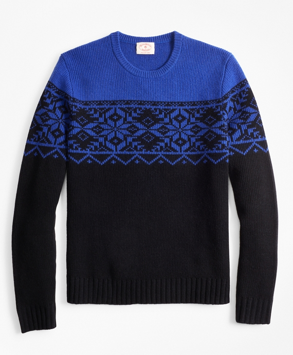Merino Wool-Blend Snowflake Crewneck Sweater Black-Blue