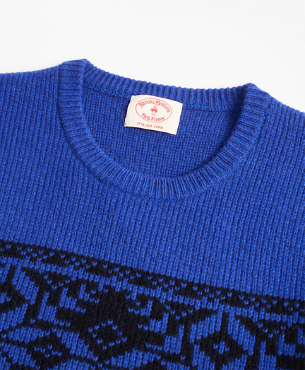 Brooks Brothers Blue and Black Merino Wool-Blend Snowflake Crewneck Sweater