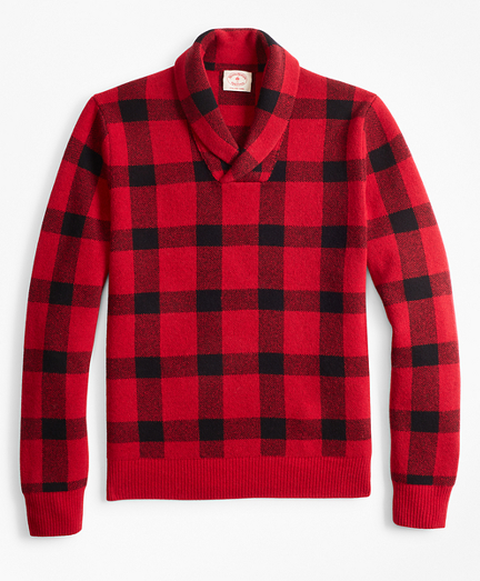 Merino Wool-Blend Buffalo Plaid Shawl-Collar Sweater