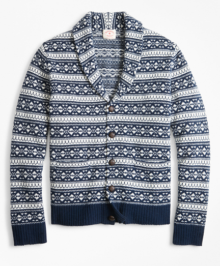 Fair Isle Wool-Blend Shawl-Collar Cardigan