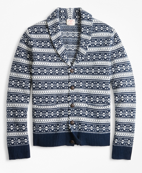 Fair Isle Wool-Blend Shawl-Collar Cardigan Navy-Cream