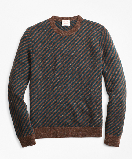 Diagonal-Stripe Alpaca-Blend Crewneck Sweater
