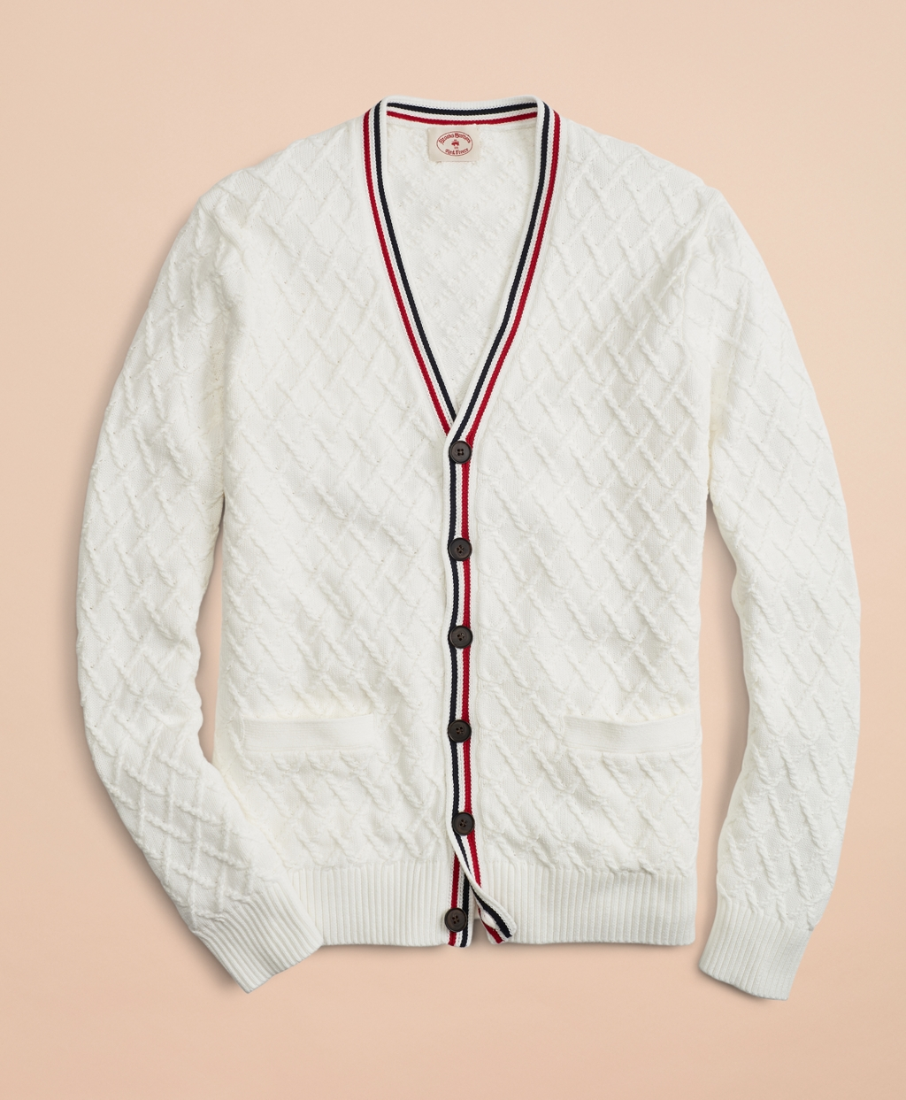 Men's Vintage Sweaters – 1920s to 1960s Retro Jumpers Brooks Brothers Mens Cotton V-Neck Tennis Cardigan $73.87 AT vintagedancer.com