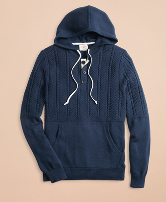 Cable-Knit Hooded Henley Sweater