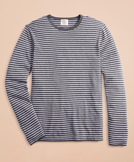 Cotton-Cashmere Striped Crewneck Sweater