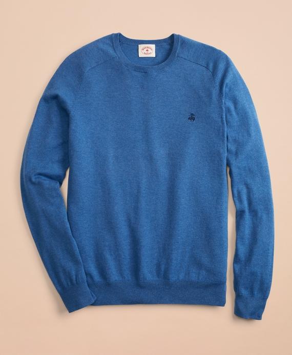 Cotton-Cashmere Crewneck Sweater Blue