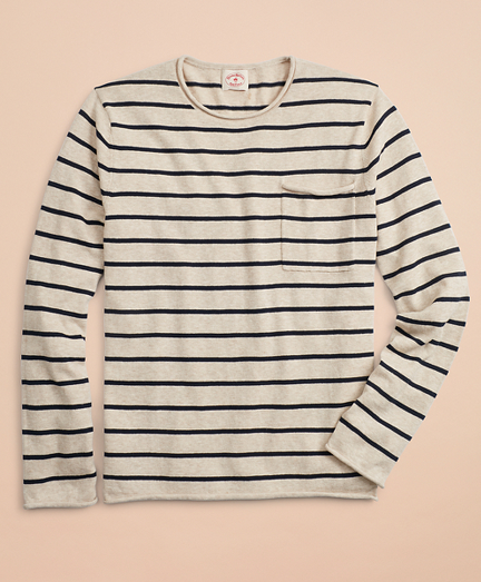 Striped Cotton-Linen Crewneck Sweater