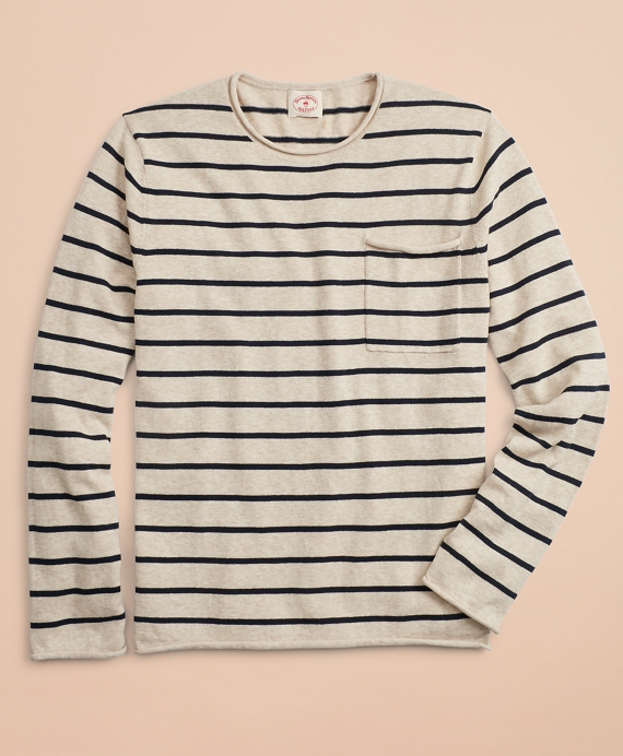 Striped Cotton Linen Crewneck Sweater by Brooks Brothers