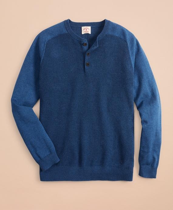Textured Raglan Henley Blue