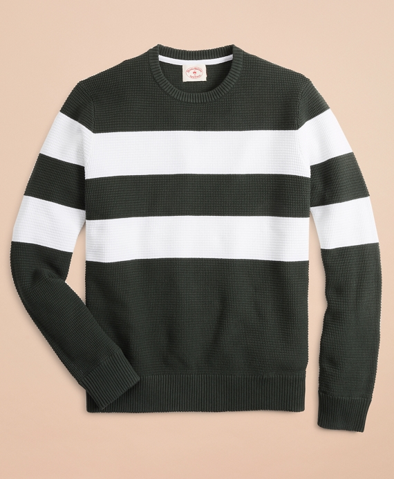 Striped Waffle Crewneck Sweater Green