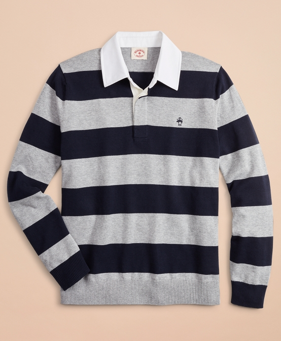 Cotton-Cashmere Rugby Sweater Grey
