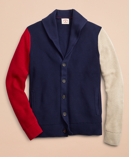 Color-Block Shawl Collar Cardigan Sweater