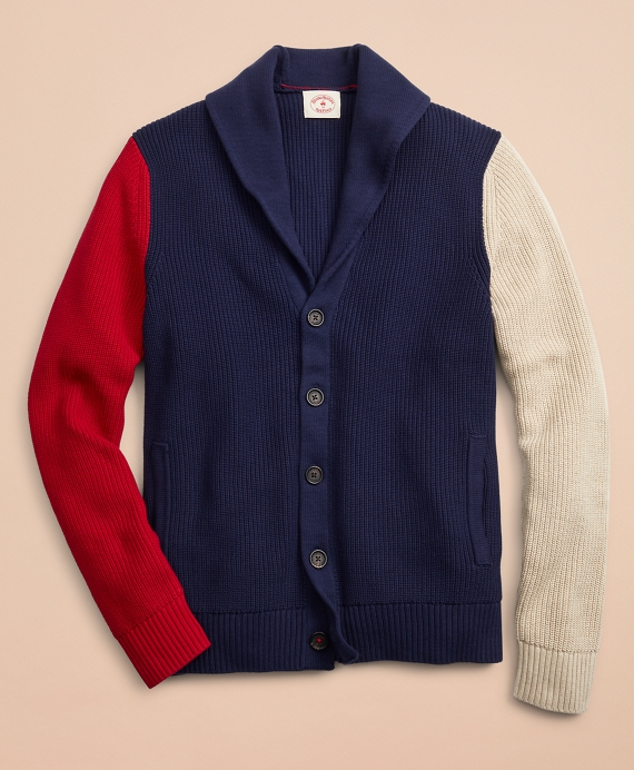 Color-Block Shawl Collar Cardigan Sweater Navy