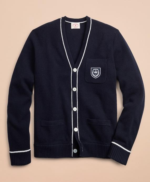 Wool-Blend Patch Cardigan Navy