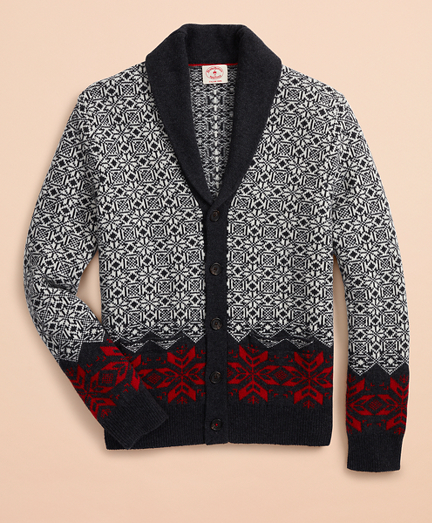 Nordic-Pattern Shawl-Collar Cardigan