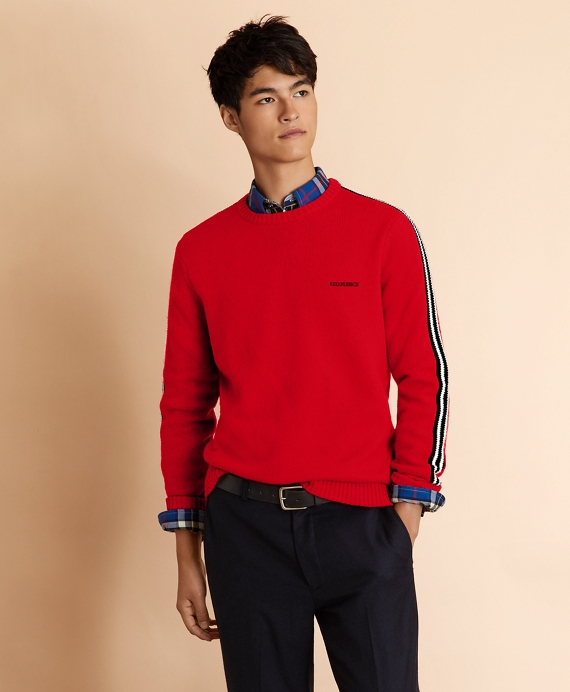 Striped Sleeve Crewneck Sweater Red