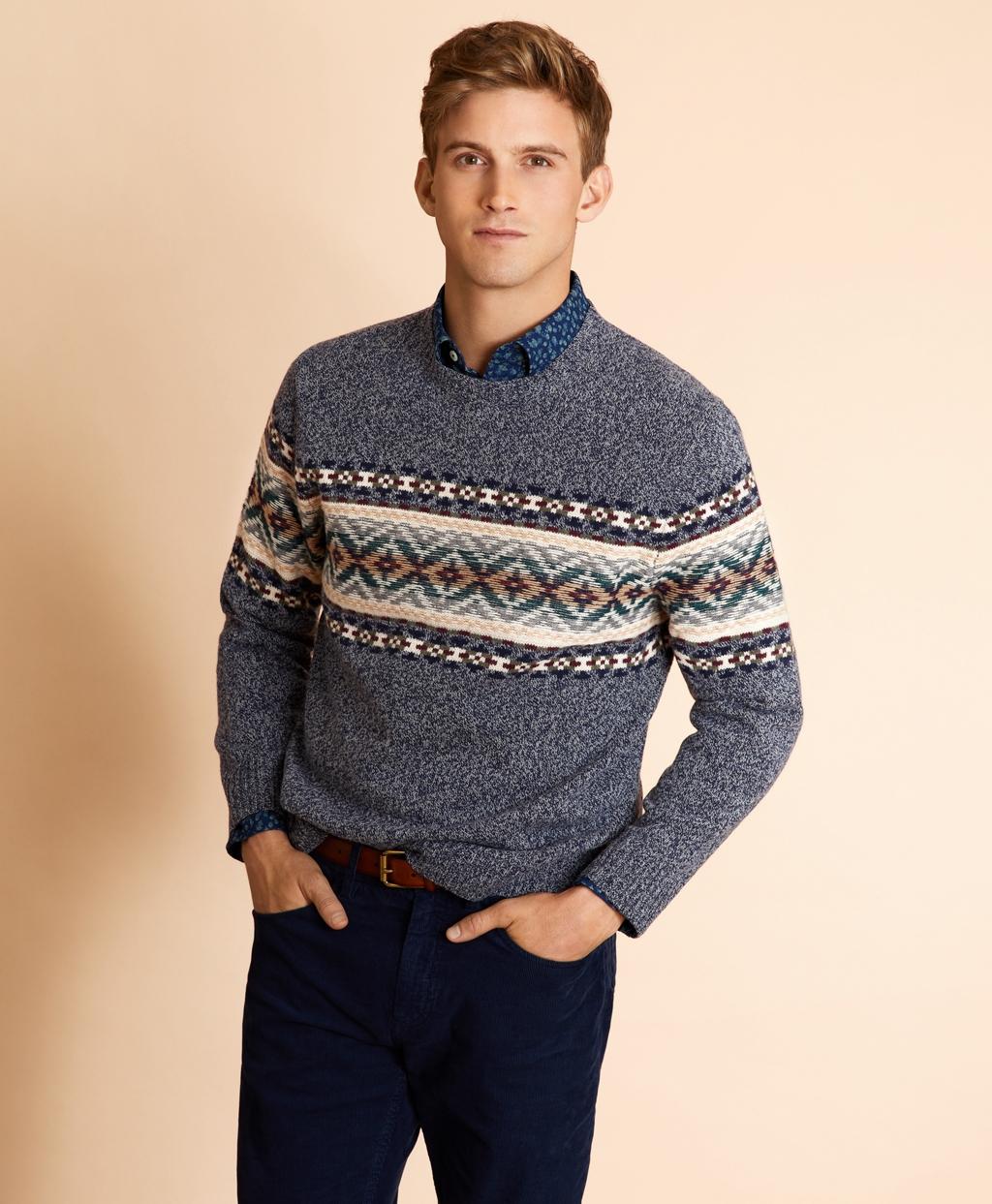 Men's Vintage Sweaters – 1920s to 1960s Retro Jumpers Brooks Brothers Mens Wool-Blend Fair Isle Crewneck Sweater $89.50 AT vintagedancer.com