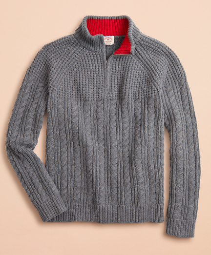 Half-Zip Merino Wool Cable-Knit Sweater