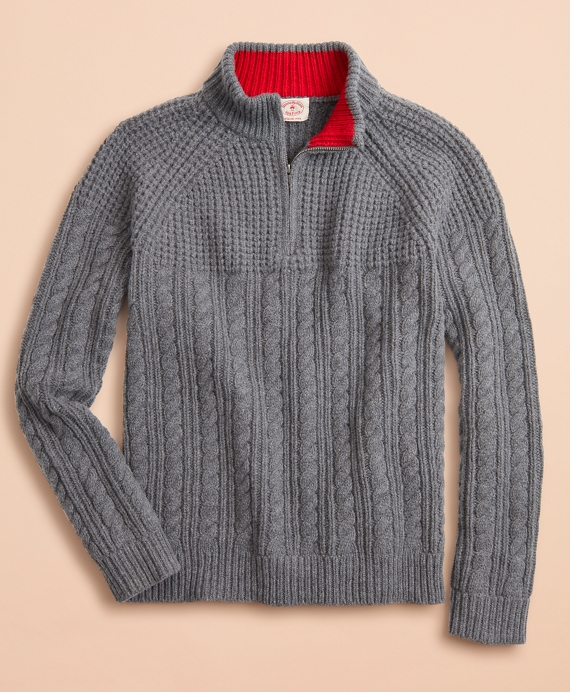 Half-Zip Merino Wool Cable-Knit Sweater Grey