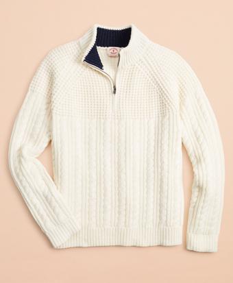 Half-Zip Merino Wool Cable-Knit Sweater