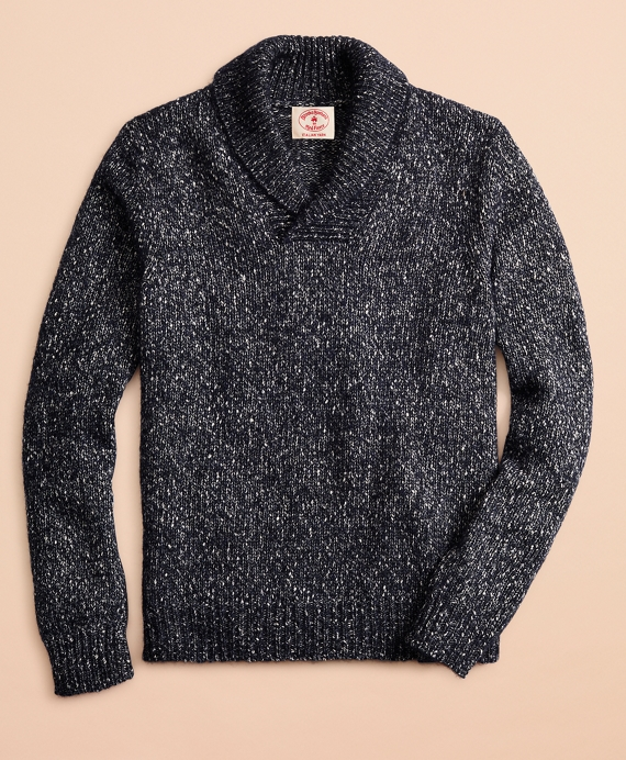 Cotton-Blend Shawl-Collar Sweater Navy