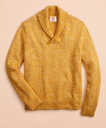 Cotton-Blend Shawl-Collar Sweater