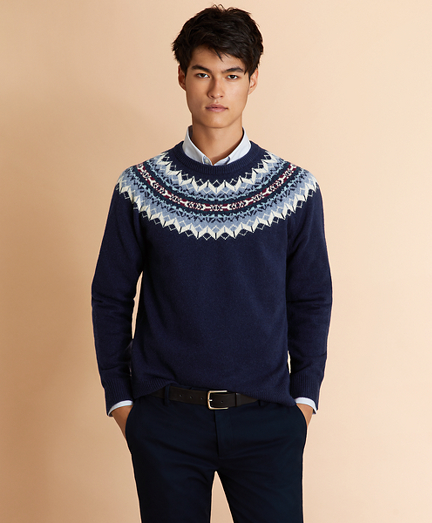Wool-Blend Fair Isle Crewneck Yoke Sweater