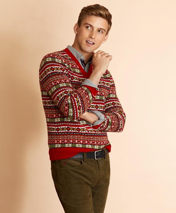 Wool-Blend V-Neck Fair Isle Sweater Red