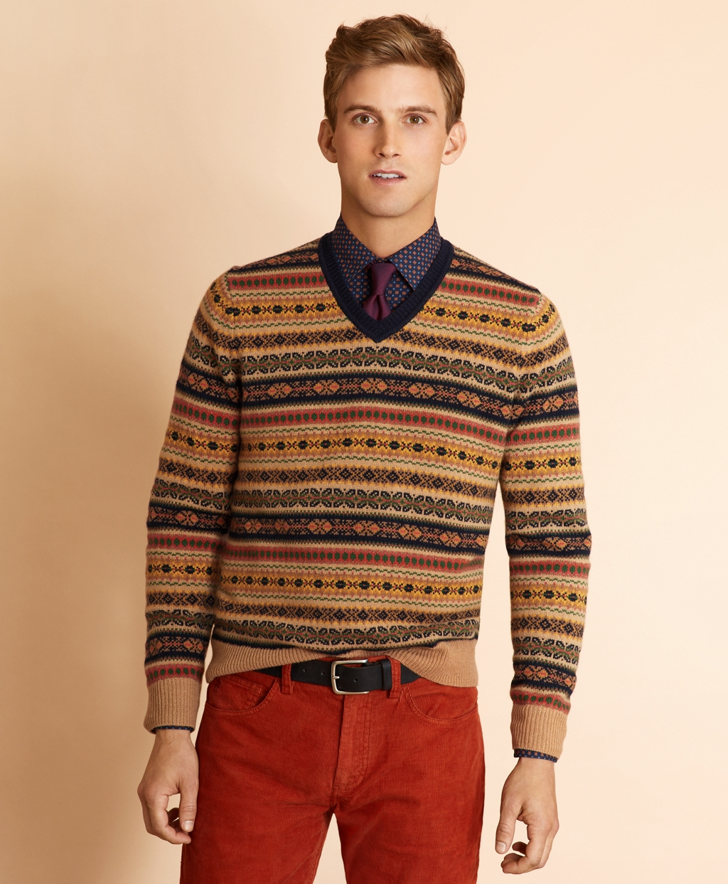 Men's Vintage Sweaters – 1920s to 1960s Retro Jumpers Brooks Brothers Mens Wool-Blend V-Neck Fair Isle Sweater $67.12 AT vintagedancer.com