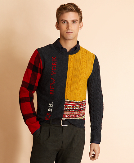 Patchwork Wool-Blend Crewneck Sweater