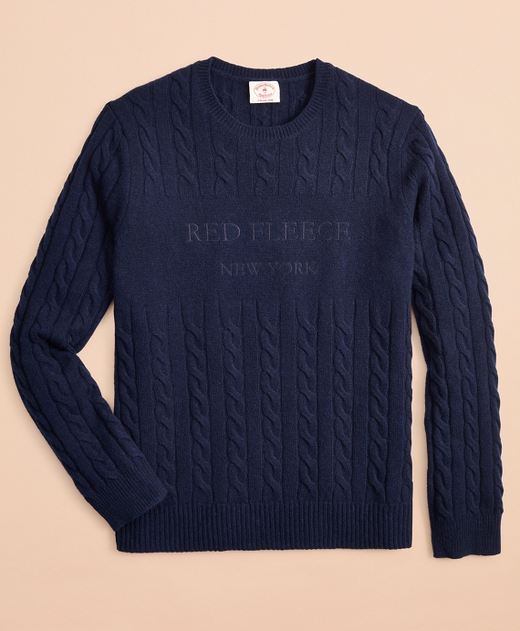 Wool-Blend Cable Logo Sweater Navy