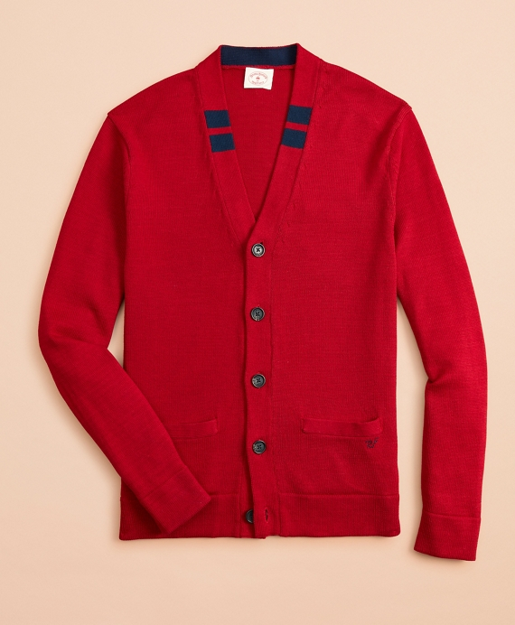 Tipped Cotton Cardigan Sweater Red